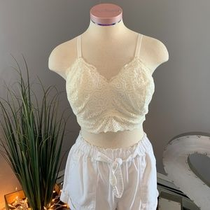 Aerie Off-White Lace Bralette - Size XL